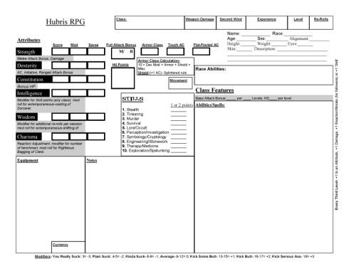 Hubris RPG Character Sheet