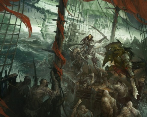 Cleric of Zxyldon fighting on the dangerous sea.