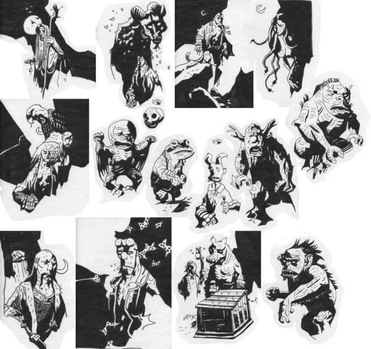 Awesome Mike Mignola fae sketches